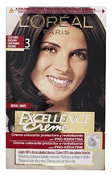 Excellence L'Oréal Paris Tinte Castaño Oscuro nº 3 crema color triple cuidado caja 1 unidad con Pro-keratina + Ceramida + Colágeno Caja 1 unidad