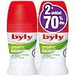 Desodorante roll-on Organic extra fresh con menta y té verde ecológicos pack 2 envase 50 ml ( pack especial 2ª unidad al 70% ) pack 2 envase 50 ml Byly