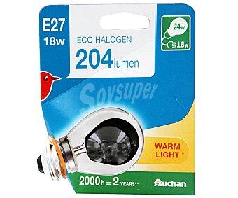 Auchan Bombilla ecohalógena esférica de 18W, con casquillo E27 (grueso) y luz cálida auchan.