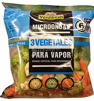 Verdifresh Verdura vapor microondas 3 vegetales (brócoli, coliflor, zanahoria) Bolsa 300 g
