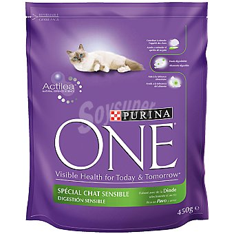 Purina Alimento especial para gatos con pavo One digestion sensible Paquete de 450 g