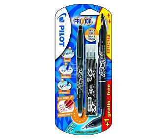 Pilot Set de 2 bolígrafos retráctiles del tipo roller de grip suave, punta media con grosor de escritura de 0.7 milímetros, tinta líquida borrable negra y 3 recargas 1 unidad