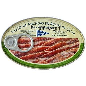 Hipercor Filetes de anchoa del Cantábrico en aceite de oliva Lata 90 g neto escurrido