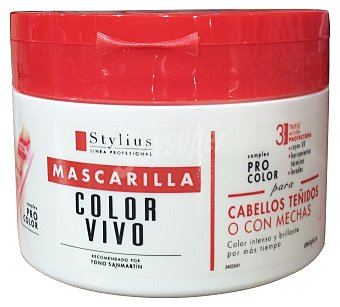 DELIPLUS Mascarilla cabello color vivo triple acción protectora stylius  Tarro de 300 cc