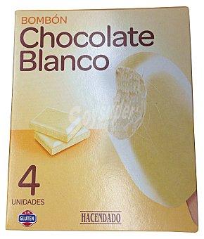 Hacendado Helado palo bombon chocolate blanco Caja 4 u