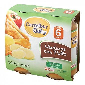 Carrefour Baby Tarrito de verduras con pollo desde 6 meses sin gluten Pack de 2 unidades de 250 g