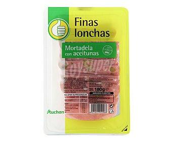 Productos Económicos Alcampo Mortadela con aceitunas, sin gluten y cortada en lonchas 180 gr