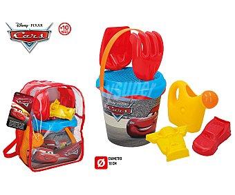 Disney / Pixar Mochila de Cars con juguetes de playa, cubo, pala, rastrillo y accesorios, Pixar.
