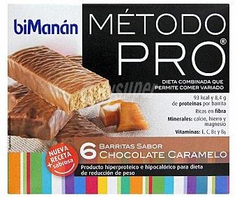 BIMANÁN Pro Barritas de chocolate caramelo, producto hiperproteico e hipocalórico para dieta de reducción de peso bimanán Método Pro 6 Unidades de 27 Gramos 6x27g