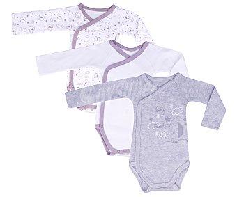 In Extenso Lote de 3 bodies cruzados de manga larga de algodón color gris, talla 56