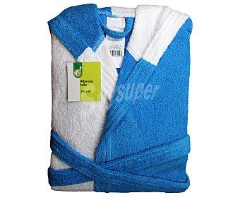 Productos Económicos Alcampo Albornoz infantil de rizo bicolor, turquesa y blanco, talla 6 años 1 Unidad