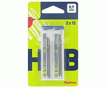 Auchan Lote de 2 estuches de 12 minas de dureza HB y grosor de 0.7 milímetros 1 unidad