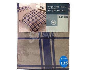 Auchan Funda para relleno nórdico a cuadros, color azul, 135 centímetros 1 Unidad