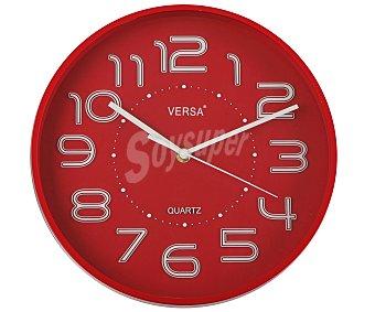 VERSA Reloj de pared fabricado en plástico color rojo, 28 centímetros de diámetro 1 unidad
