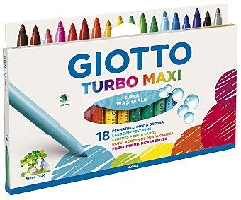 GIOTTO Caja de 18 rotuladores de diferentes colores, con punta gruesa, grosor de trazado de 5 milímetros y superlavables 1 unidad