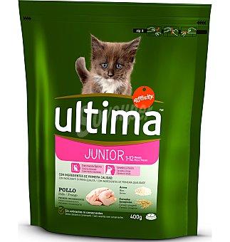 Ultima Affinity Alimentación para gatos Junior hasta 12 meses con pollo y arroz  Paquete de 400 g