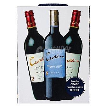 """Cune Estuche de 2 vinos D.O. Ca. """"rioja"""" tinto crianza + 1 vino D.O. """"ribera del Duero"""" tinto roble Pack 3x75 cl"""