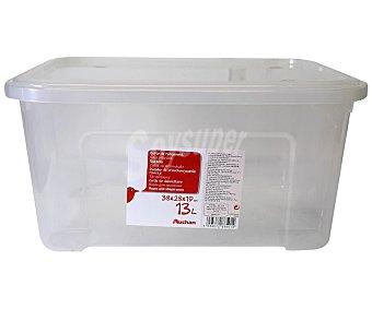 Auchan Caja de ordenación con tapa fabricada en plástico transpartente, , 37,7x27,7x18,8cm. auchan 13 l.
