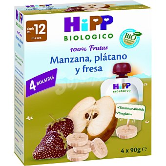 HiPP Biológico Bolsitas pouche de manzana plátano y fresa estuche 360 g 4 unidades
