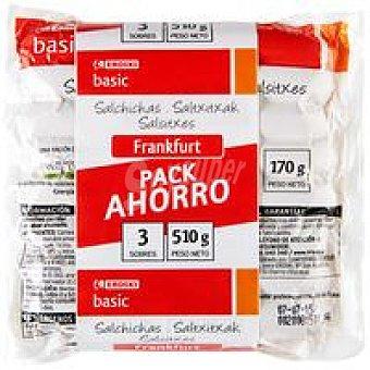 Eroski Salchichas de frankfurt Pack 4x160g