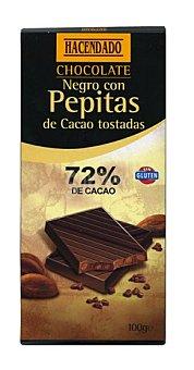 Hacendado Chocolate negro 72% pepitas cacao Tableta 100 g