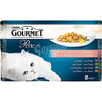 Gourmet Purina Filetitos en gelatina Perle para gatos 4 bolsas de 85 g