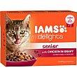 Senior alimento húmedo para gato de +7 años con pollo en salsa Pack 12 bolsas 85 g IAMS