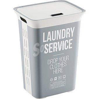 KIS Laundry Service cesto de ropa con tapa color plata y blanco  45 L