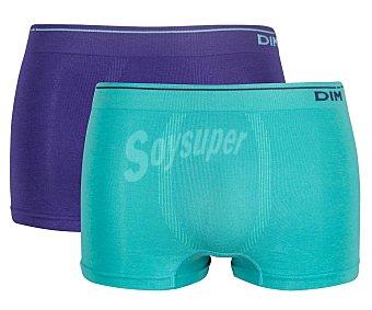 Unno Pack de 2 calzoncillos bóxer de algodón sin costuras para hombre by Dim AD005HF, color azul/violeta, talla M