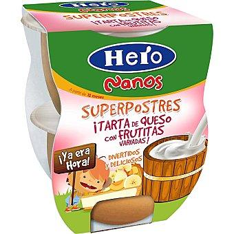 HERO NANOS Superpostres Tarta de queso con frutitas variadas pack 2x130 estuche 260 g Pack 2