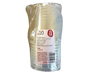 ACTUEL Vasos desechables de plástico transparente, 0,75 litros de capacidad 10 unidades