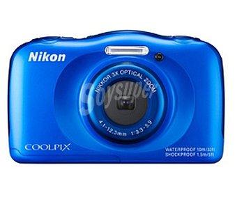"Nikon coolpix S33 Cámara compacta 999S33BL 13 Megapixeles, Zoom óptico 3x, pantalla 2,7"" lcd, sumergible hasta 10 metros, incluye mochila de transporte, color azul"