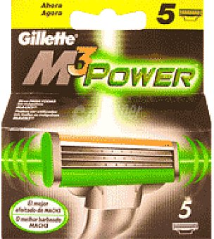 Gillette Mach3 Recambio power 5 ud