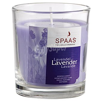 SPAAS Vela Perfumada en vaso de cristal transparente aroma Lavanda