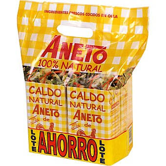 ANETO caldo de pollo 100% natural  pack ahorro 4 envase 1 l