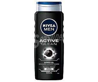 Nivea For Men Gel de baño o ducha con carbón activo y agentes limpiadores suaves active clean Bote 500 ml
