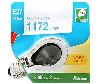 Auchan Bombilla ecohalógena esférica de 70W, con casquillo E27 (grueso) y luz cálida auchan.