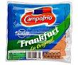 Salchichas cocidas tipo Frankfurt de pollo y cerdo y elaboradas sin gluten 140 g Campofrío
