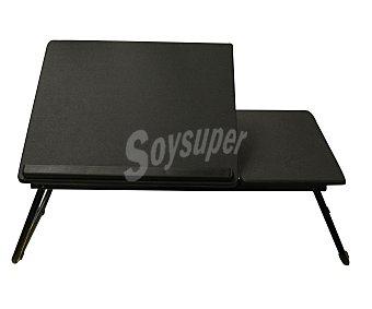 SDPE Mesa portatil con estructura en tubo metálico, superficie de pvc, bandeja abatible y todo en color negro, 55x32x23 centímetros 1 unidad.