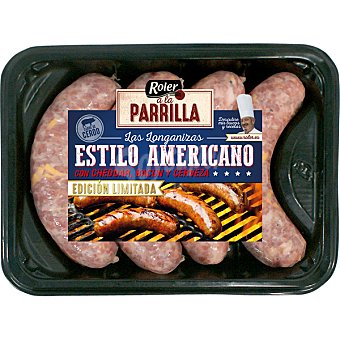 Roler A LA PARRILLA longanizas estilo Americano con queso cheddar, bacon y cerveza bandeja 320 g bandeja 320 g