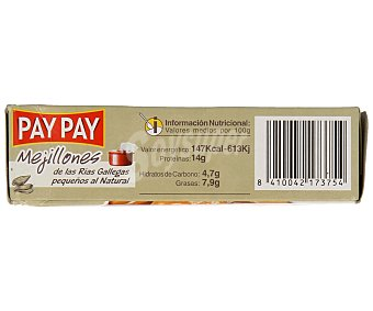 PAY PAY Mejillones pequeños al natural de las rías gallegas Caja de 70 g