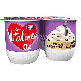 Vitalínea Danone Yogur cremoso desnatado 0% materia grasa con stracciatella pack 4 unidades 120 g