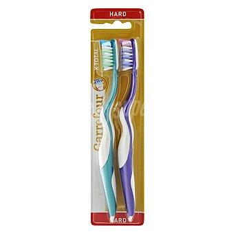 Carrefour Cepillo dental duro con cerdas cruzadas 2 ud