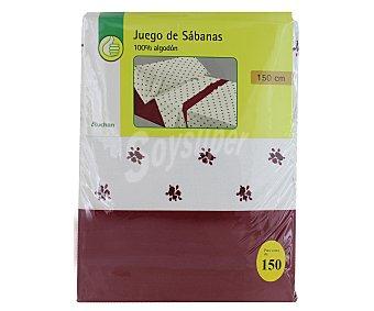 PRODUCTO ECONÓMICO ALCAMPO Juego de sábanas modelo Flor Liberty, color blanco y rojo, 170x150x30 centímetros 1 Unidad