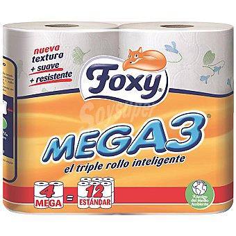 Foxy Papel higiénico triple rollo decorado Mega 3 Paquete 4 unidades