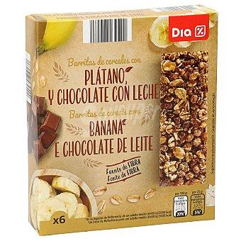 DIA Barrita de cereales, chocolate y platano Caja de 6 unidades (150 g)
