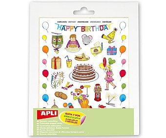 APLI Hoja de gomets adhesivos y removibles con motivos de fiestas de cumpleaños 3 unidades