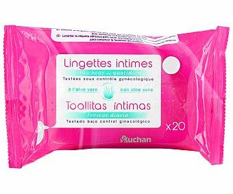 Auchan Toallitas humedas higiene intima con aloe vera 20 uds