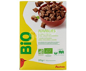 Auchan Cereales (trigo, arroz, avena) recubiertos de cacao y con relleno de avellanas y cacao ecológicos 375 g