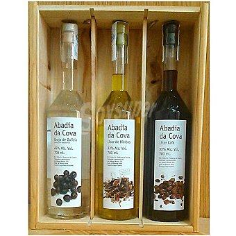 Abadía da Cova Licor orujo de Galicia + licor de café + licor de hierbas Estuche 3 botellas 70 cl